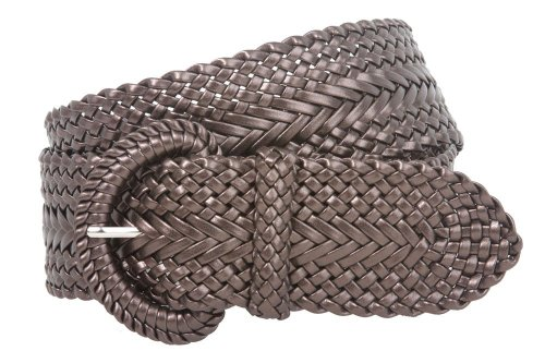 Women's Fashion Web Woven Braid Faux Leather Metallic Wide Belt, L 43
