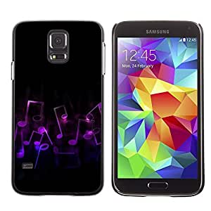 Graphic4You Purple Black Music Notes Design Hard Case Cover for Samsung Galaxy S5