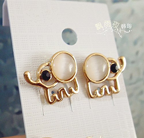 Thai travel essential small white stones like opal gemstone earring Southeast Asian style national wind women girls beige by usongs