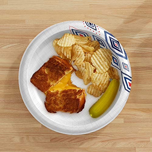 Dixie Paper Plates, 10 1/16 inch, Dinner Size Printed Disposable Plate, 220 count (5 packs of 44 Plates), Packaging and Design May Vary
