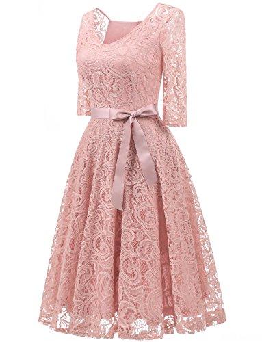 Dressystar Elegant V Neck Lace 3/4 Sleeve Bridesmaid Wedding Guest Dresses Slim Waist Midi Dress