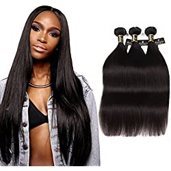 Puddinghair Straight Virgin Hairs Bundles 20 22 24 Inch 100% Unprocessed Brazilian Hair Natual Black Brazilian Virgin Hairs 3 Bundles of Braziian Hairs