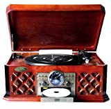 Bluetooth Wireless Streaming Classic Retro Style Record Player Turntable with CD Player, Cassette Deck, USB Reader, AM/FM Radio, Headphone Jack & Built-in Speakers (Please see item detail in description)