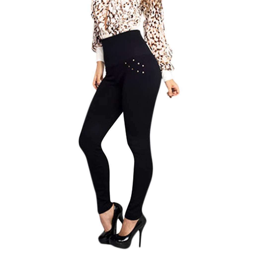 Pervobs Women Casual Comfy Stretchy High Waist Pants Solid Skinny Sports Yoga Leggings Pants Trouser(M, Black)