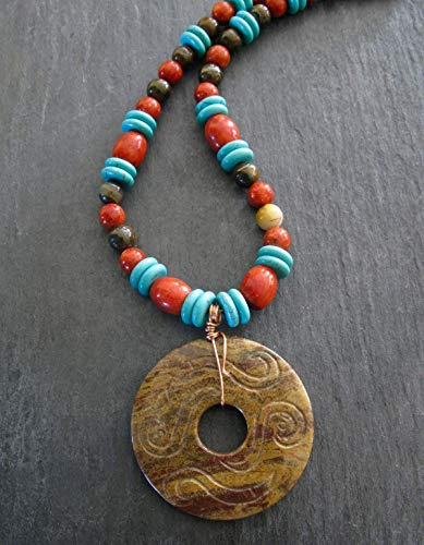 Red Coral Brown Jasper Beaded Statement Pendant Necklace Turquoise Howlite Artisan Handcrafted Gemstone ()