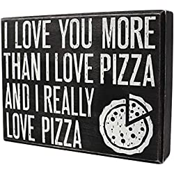 JennyGems I Love Pizza - I Love You As Much As I Love Pizza and I Really Love Pizza - Love Sayings - Real Wood Sign - Funny Gift Gifts - I Love You Gifts, Pizza Decor - Pizza Gifts