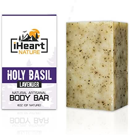 Holy Basil Tulsi Soap Bar (Large 6 Ounce) Made in USA (Glowing Clear Skin Toning Detoxifying Adaptogen) Ayurvedic Organic Vegan Artisanal Natural Handmade Aromatherapy Soap