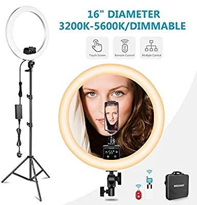 Remote and Multiple Lights Control Black Neewer Advanced 16-inch LED Ring Light Support Manual Touch Control with LCD Screen Stand Included for Makeup YouTube Video Blogger Salon 3200-5600K