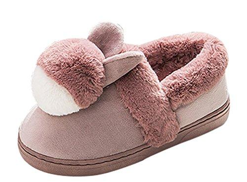 Cattior Womens Confortable Pantoufles Lapin Chaud Mignonnes Pantoufles Maison Chaussures Rouge