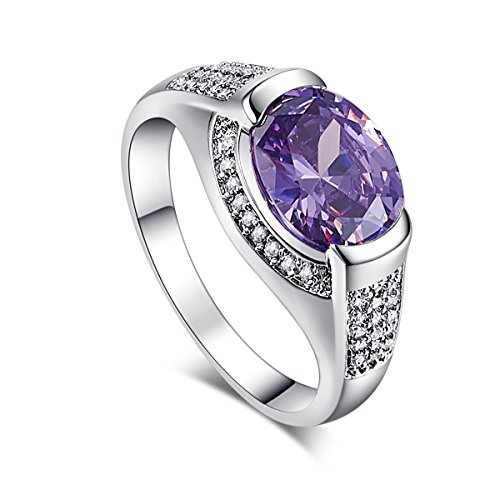 Silver Created Amethyst Filled Statement Ring Band (Amethyst Cubic Zirconia Ring)