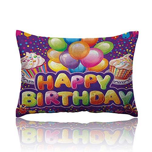 Anyangeight Birthday Small Pillowcase Purple Colored Backdrop with Creamy Cupcakes Hearts Confetti Rain and Balloons Zipper Pillowcase 20