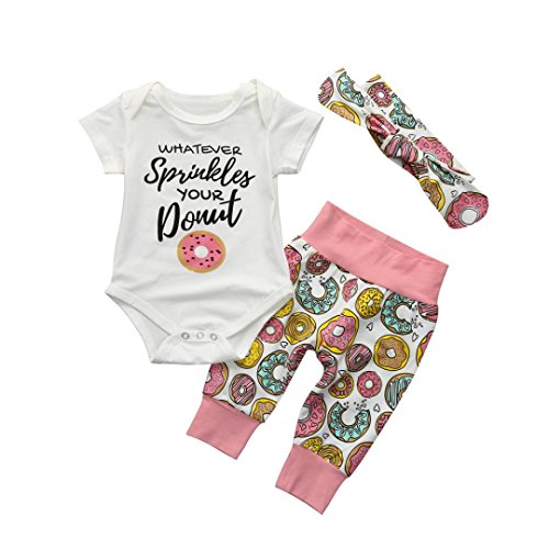 (Baby Girl/Boy Outfits, JPOQW Toddler Baby Girls Donut/Bronzing Pineapple Short Sleeves Romper Tops+Pants Set (White -Donut, 12 Months))