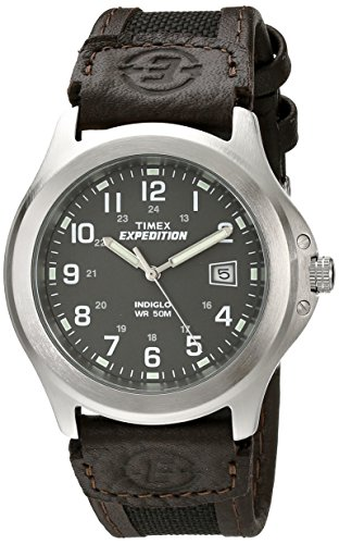 Timex Men's T40091 Expedition Metal Field Black/Brown Nylon/Leather Strap -