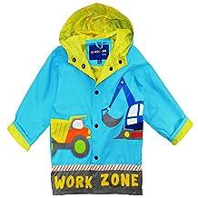 Wippette Little Boys Rainwear Waterproof Work Zone Raincoat Jacket, Blue, 6