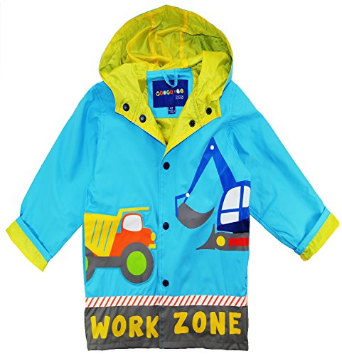 Wippette Little Boys Rainwear Waterproof Work Zone Raincoat Jacket, Blue, 5
