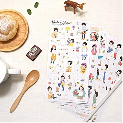 Oulensy 6 Stück HEEDA zweites Quartal des Forest Department Sweet Girl der koreanische Mädchen Tagebuch PVC dekorative Aufkleber Notizblöcke