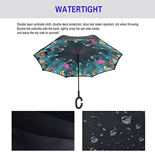 Spar. Saa Double Layer Inverted Umbrella with C-Shaped Handle, Anti-UV Waterproof Windproof Straight Umbrella for Car Rain Outdoor Use (Pink Flamingos) by Spar.saa (Image #1)