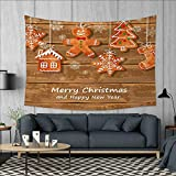 Anniutwo Gingerbread Man Art Wall Decor Funny Watercolor Cookies on Wooden Boards Delicious Xmas Pastry Tapestry Wall Tapestry W60 x L51 (inch) Brown Orange White