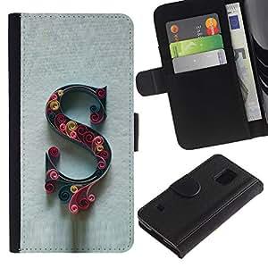 KingStore / Leather Etui en cuir / Samsung Galaxy S5 V SM-G900 / Letra inicial Caligrafía Carta floral gris