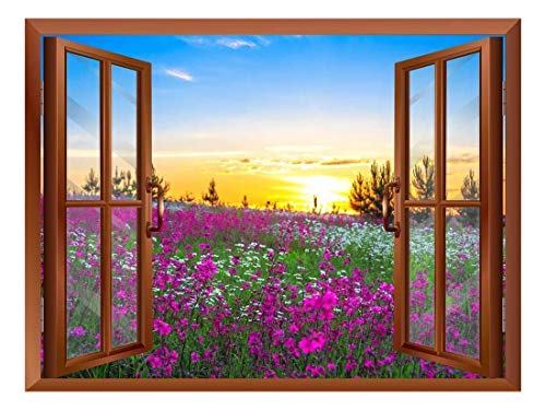 Beautiful Summer Sunrise Over a Blossoming Meadow Removable Wall Sticker Wall Mural