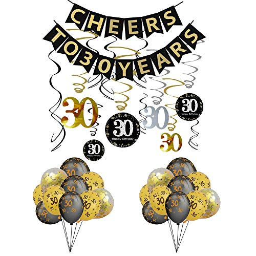 Cheer Birthday Party Supplies (30th Birthday Party Decorations KIT - Cheers to 30 Years Banner, Sparkling Celebration 30 Hanging Swirls,Gold and Black Latex 30 Birthday Balloons, Perfect 30 Years Old Party Supplies 30th Anniversary)
