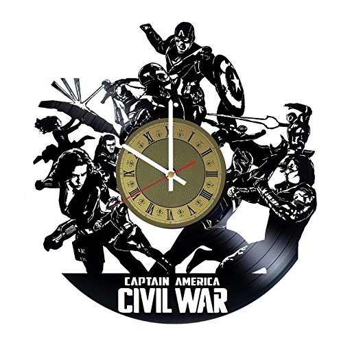 Captain America: Civil War vinyl wall clock - handmade unique home bedroom living kids room nursery wall decor great gifts idea for birthday, wedding, anniversary - customize your clock (Gold/White)