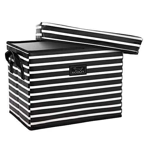 SCOUT Rump Roost Medium Lidded Storage Bin, Collapsible and Stackable, Reinforced Side Handles and Bottom, Water Resistant, Fleetwood Black - Print Medium Storage Bin