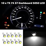 Partsam 10pcs White T5 74 Miniature Wedge 5050-SMD LED Bulbs Instrument Panel Gauge Cluster for 2000-2009 Honda S2000 Plug and Play Lamps