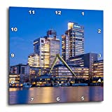 3dRose Danita Delimont - Cities - Netherlands, Amsterdam. Omval Commercial District, office towers - 15x15 Wall Clock (dpp_277775_3)