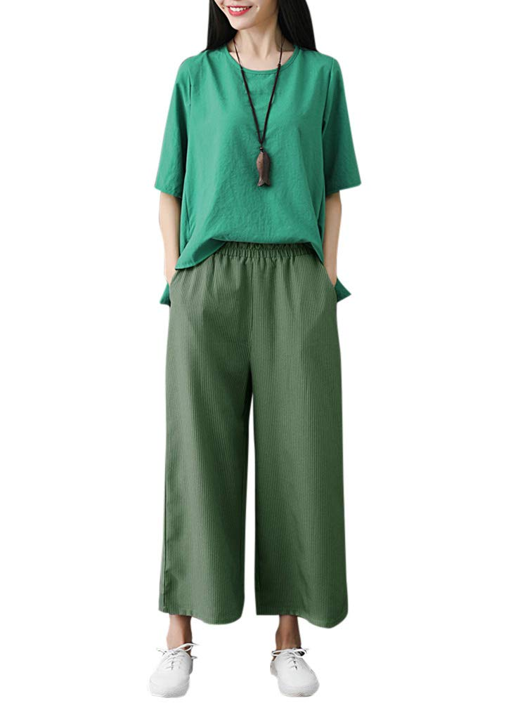 Romacci Woman Casual Loose Wide Leg Pants Elastic Waist Pockets Striped Print Trousers