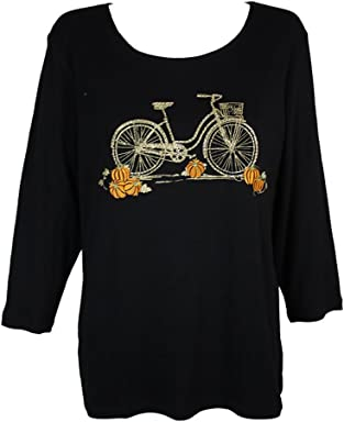 Karen Scott Plus Size Cotton Bicycle Graphic Top