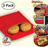 Magnoloran (3 Pack) Microwave Potato Bag, Corn, Day-old Bread, Tortillas Cooker Bag, Washable and Reusable, Red