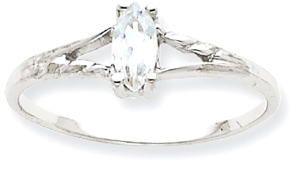 ICE CARATS 10k White Gold Topaz Birthstone Band Ring Size 6.00 Stone April Marquise Fine Jewelry Gift Set For Women Heart