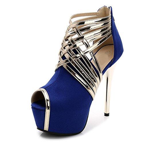 Cabeza Pescado Ochenta Atractiva de Moda Mujer Sandalias Azul Zapatillas de wPPqx0X