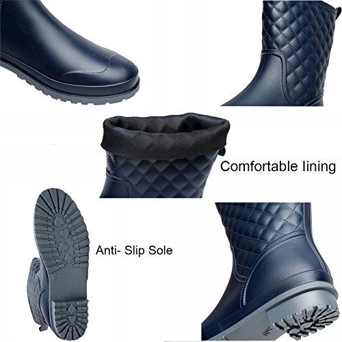 17KM Womens Black Short Anti Slip Rain Boots Mid-Calf Waterproof Rubber Rain Shoes Navy