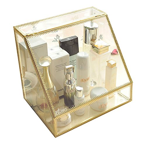 Gold Stunning Large Glass Beauty Display Cosmetics Makeup Organizer Storage Case Vanity Holder with Slanted Front Open Lid-Cosmetic Spacious Storage for Makeup, Brushes, Perfumes, Skincare