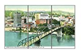 View Of Business Section, Charleston, Va Horizontal Tile Mural Satin Finish 12''Hx18''W 6 Inch Tile