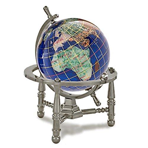 Kalifano Caribbean Blue 3-in. Gemstone Globe with Nautical Stand (Alexander Kalifano Globe)