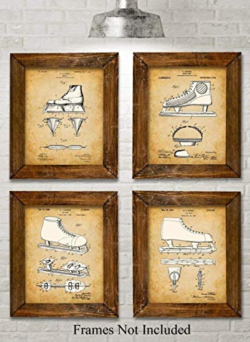 Original Ice Skating Patent Art Prints - Set of Four Photos (8x10) Unframed - Makes a Great Gift Under $20 for Ice Skaters