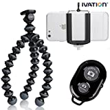 JOBY Gorillapod Flexible Compact Camera Tripod (Black/Charcoal) & Bluetooth Wireless Remote Control Camera With Shutter Release, Self Timer for IOS & Android Cell Phones. Includes Ivation Universal Mobile Tripod Mount & Adapter works with Most Smartphones!