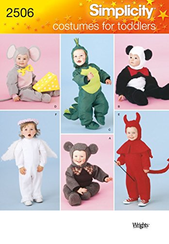 Simplicity 2506 Mouse, Dragon, Panda, Koala Bear, Angel and Devil Sewing Pattern for Toddlers Halloween Costume by Wrights, Sizes A 1/2-4