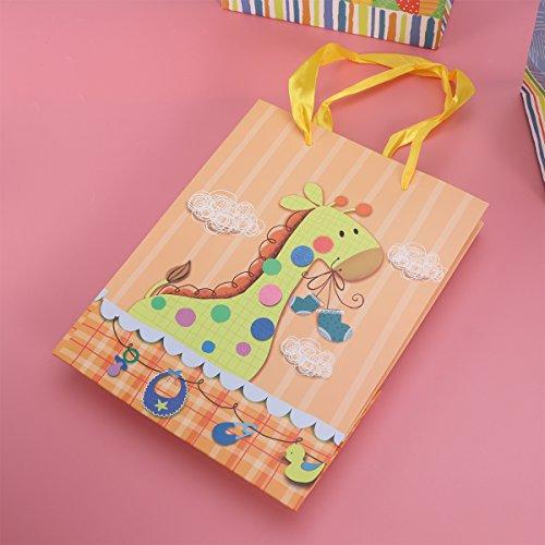 TOYMYTOY Borse da regalo con manici, Cartoon Animal Printed Borse di Caramella per Doccia Baby, 8 Pz