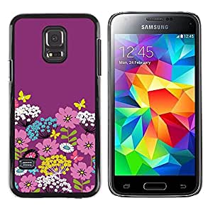 Be Good Phone Accessory // Dura Cáscara cubierta Protectora Caso Carcasa Funda de Protección para Samsung Galaxy S5 Mini, SM-G800, NOT S5 REGULAR! // Purple Floral Art Flowers Pink