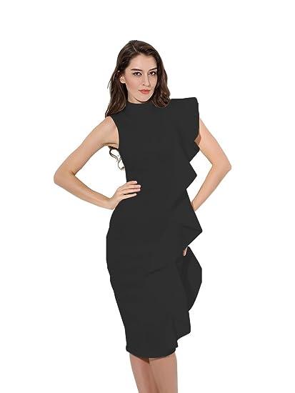 Tina Beauty Mock Neck Sleeveless Side Ruffle Back Vent Bodycon Dress