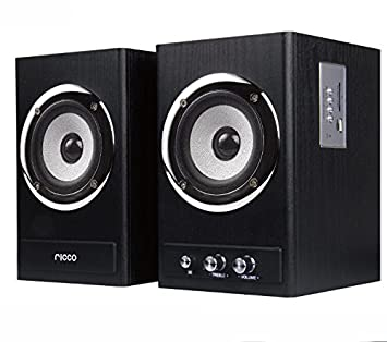 Ricco 24 W Rms Bluetooth 2 Channel Rms Wooden Chrome Speaker Home Hi Fi System With Usb Flash Drive Playback T2018   Black by Amazon