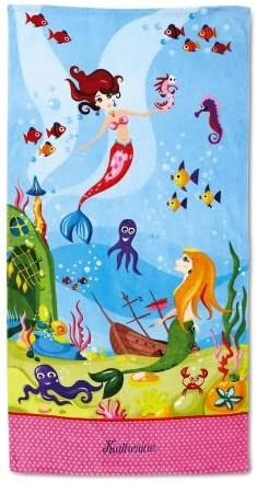 Lillian Vernon Personalized Kids Mermaid Beach Towel for Girls, 100% Cotton, Custom Embroidered