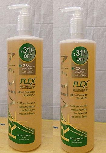 (Pack of 2 - Revlon Flex Shampoo Dry Damaged Body Building Protein Shampoo Gentle Cleansing 20 Oz / 592 ml)