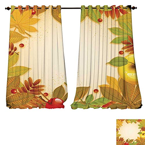 Chandelier 4 Light Wheat (DESPKON-HOME Drapes for Living Room Seamless Pattern with Pumpkins Leaves Wheat and Turkey 2 Tie Up Printed Blackout Curtain -W96 x L96/Pair)