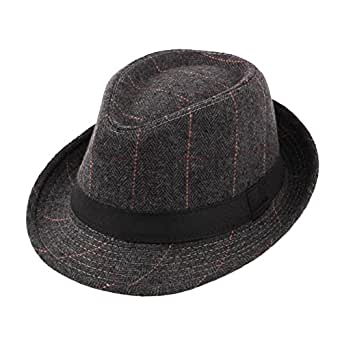 Image Unavailable. Image not available for. Color  Felt Trilby Hat Men  Gentleman Autumn Winter Plaid Fedora Jazz Hats Multicolor 719fe19b791a