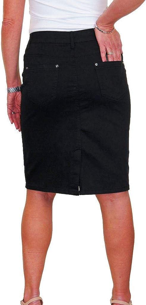 icecoolfashion Jupe de Style Jeans en Chino Stretch avec Lustre 38-50